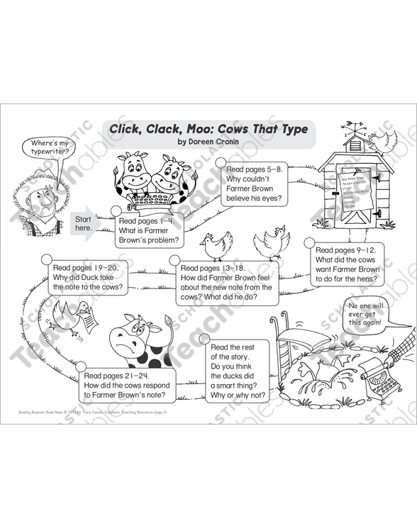 Click Clack Moo Reading Response Map Printable Book Reports And