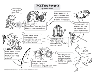 TACKY the Penguin: Reading Response Map - Printable Worksheet