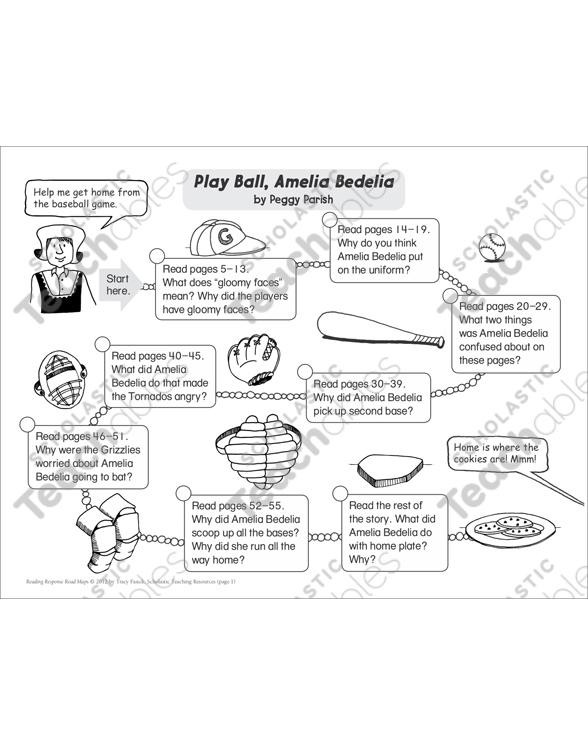 Play Ball Amelia Bedelia Reading Response Map Printable Book