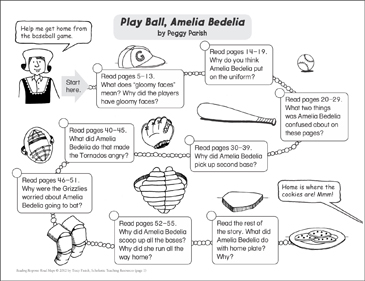 Play Ball, Amelia Bedelia: Reading Response Map - Printable Worksheet