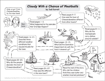 Cloudy With a Chance of Meatballs: Reading Response Map - Printable Worksheet