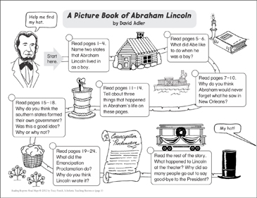 A Picture Book of Abraham Lincoln: Reading Response Map - Printable Worksheet
