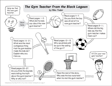 The Gym Teacher From the Black Lagoon: Reading Response Map - Printable Worksheet
