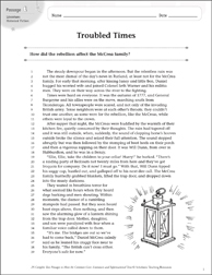 Troubled Times: Text & Questions - Printable Worksheet