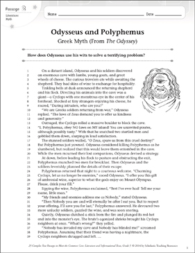 Odysseus and Polyphemus: Text & Questions - Printable Worksheet