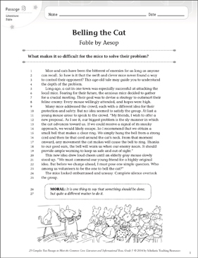 Belling the Cat: Text & Questions - Printable Worksheet