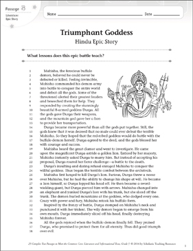 Triumphant Goddess: Text & Questions - Printable Worksheet