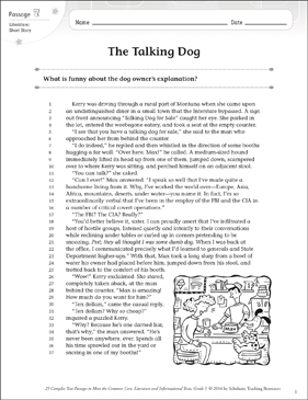 The Talking Dog: Text & Questions - Printable Worksheet