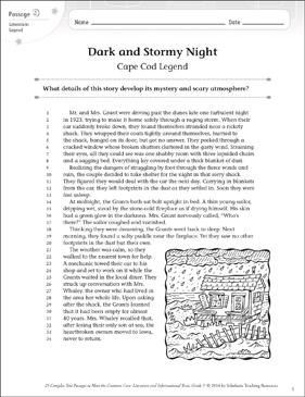 Dark and Stormy Night: Text & Questions - Printable Worksheet