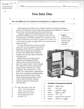 Two Into One: Text & Questions - Printable Worksheet
