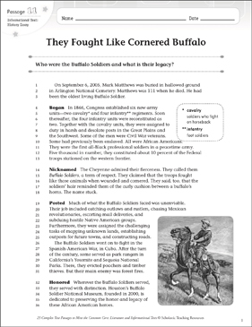 They Fought Like Cornered Buffalo: Text & Questions - Printable Worksheet