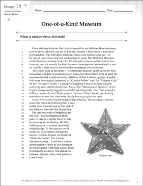 One-of-a-Kind Museum: Text & Questions - Printable Worksheet