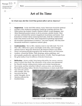 Art of Its Time: Text & Questions - Printable Worksheet