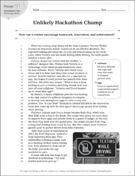 Unlikely Hackathon Champ: Text & Questions - Printable Worksheet