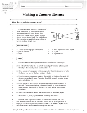 Making a Camera Obscura: Text & Questions - Printable Worksheet
