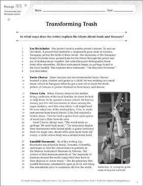 Transforming Trash: Text & Questions - Printable Worksheet