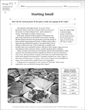 Starting Small: Text & Questions - Printable Worksheet