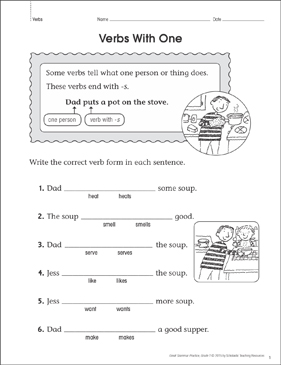 Verbs With One (Noun/Verb Agreement): Grammar Practice Page - Printable Worksheet