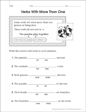 Verbs With More Than One (Noun/Verb Agreement): Grammar Practice Page - Printable Worksheet