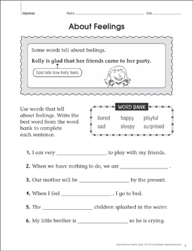 About Feelings (Adjectives): Grammar Practice Page - Printable Worksheet
