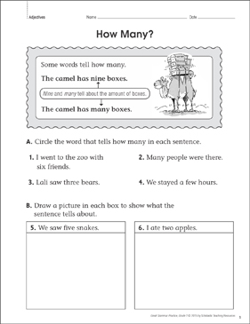 How Many? (Adjectives): Grammar Practice Page - Printable Worksheet