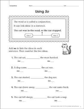 Using So: Grammar Practice Page - Printable Worksheet