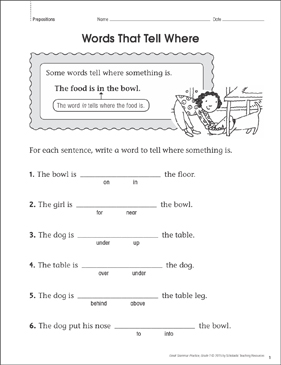 Words That Tell Where: Grammar Practice Page - Printable Worksheet