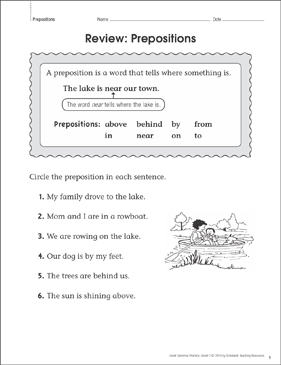 Grammar Practice Page: Prepositions Review - Printable Worksheet