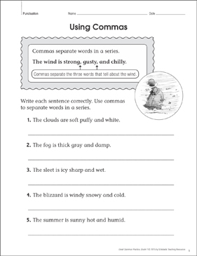Using Commas: Grammar Practice Page - Printable Worksheet