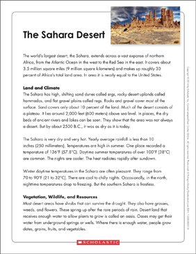 The Sahara Desert: Text & Organizer - Printable Worksheet