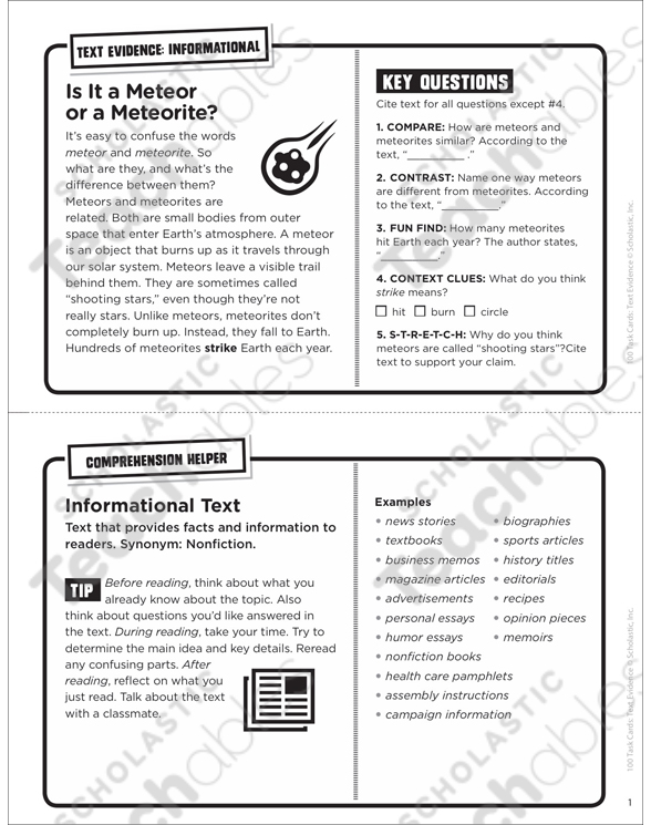 Meteor or a Meteorite? Text Evidence Task Card | Printable Lesson