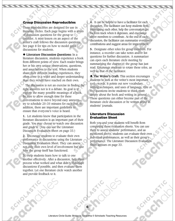 Literature Circle Guide Bridge To Terabithia Printable Lesson