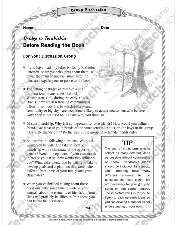 Literature Circle Guide: Bridge to Terabithia   Printable