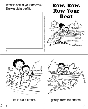 Row, Row, Row Your Boat Mini-Book - Printable Worksheet