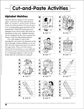 Alphabet Match Cut-and-Paste: Word Building Activity - Printable Worksheet