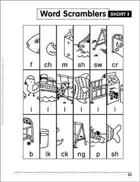 Word Scramblers – Short-i: Word Building Activity - Printable Worksheet