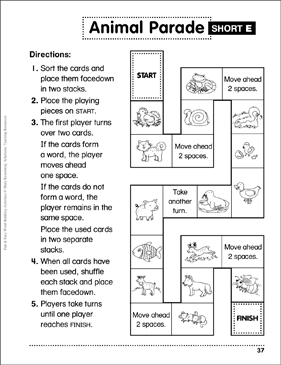photo regarding Printable Game Board referred to as Animal Parade Brief-e Board Sport: Term Developing Game