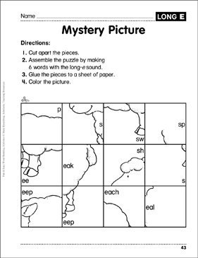 Mystery Picture – Long-e Puzzle: Word Building Activity - Printable Worksheet