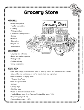 Grocery Store: Money Learning Center - Printable Worksheet