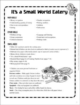 It's a Small World Eatery: Money Learning Center - Printable Worksheet
