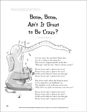 Boom, Boom, Ain't It Great to Be Crazy!: Fluency-Building Poem - Printable Worksheet