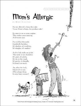 Mom's Allergic: Fluency-Building Poem - Printable Worksheet
