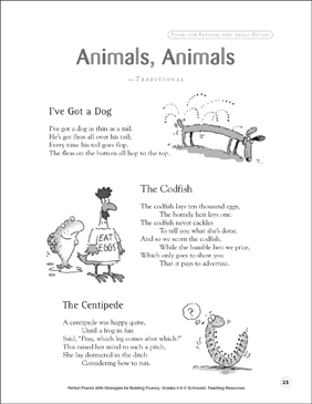 Animals, Animals: Fluency-Building Poem - Printable Worksheet