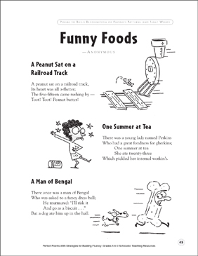 Funny Foods: Fluency-Building Poem - Printable Worksheet