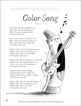 Color Song: Fluency-Building Poem - Printable Worksheet
