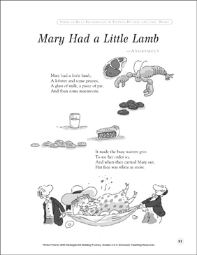 Mary Had a Little Lamb: Fluency-Building Poem - Printable Worksheet