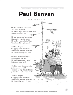 Paul Bunyan: Fluency-Building Poem - Printable Worksheet