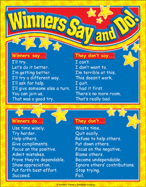 Winners Say and Do! Color Chart - Printable Worksheet