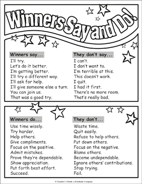 Winners Say and Do! Chart - Printable Worksheet