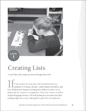 Real-Life Writing Lesson: Creating Lists - Printable Worksheet